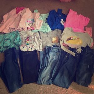 Lot of girls 10/12 jeans and long sleeve shirts